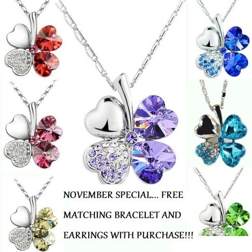 November Special... Buy The necklace receive the matching earrings and bracelet FREE!!! 18K WGP Swavorski Crystal and AAA CZ Clover Necklace