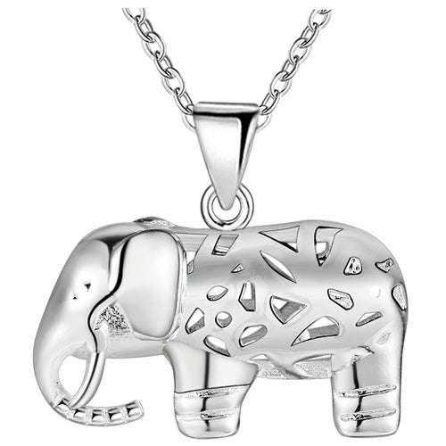 18kt White Gold Plated Cute Elephant Necklace Pendant