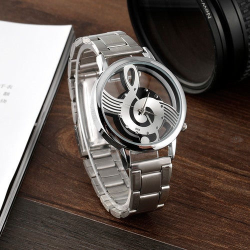 2018 New Luxury Brand Fashion Music Note Notation Watch Stainless Steel Wristwatch for Men Silver Watches
