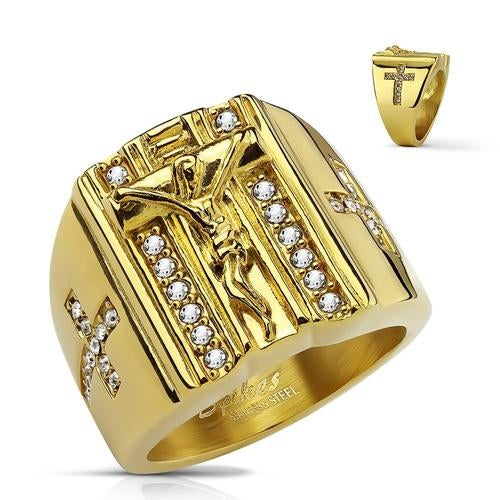 CZ Paved Cross Sides and Jesus on the Cross PVD Gold Over Stainless Steel Rings