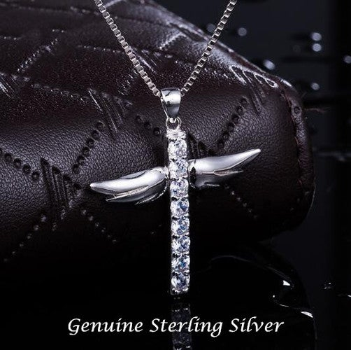 Classic Style Cubic Zircon CZ Cross Angel Wing  Pendant Necklace in Sterling Silver