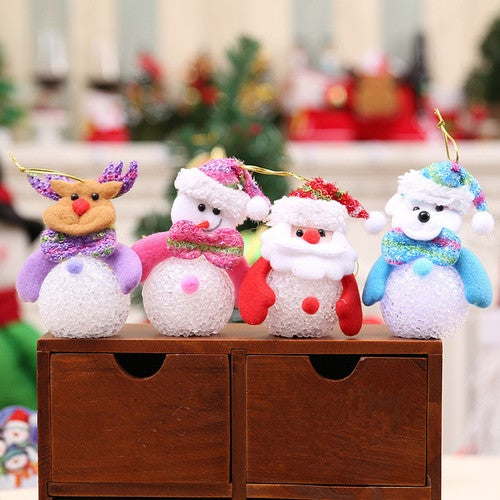 Christmas decorations on the Christmas tree ornaments luminous Christmas Snowman Doll Christmas / Claus Eva in the new year # 39; children's gifts