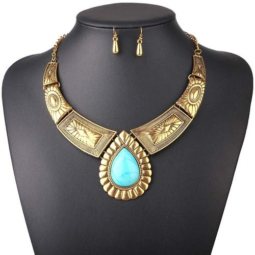 (18Kt Gold Clad & Turquoise Jewelry SET) 18Kt with Turquoise Stone Statement Necklace and 18Kt  Earring Set