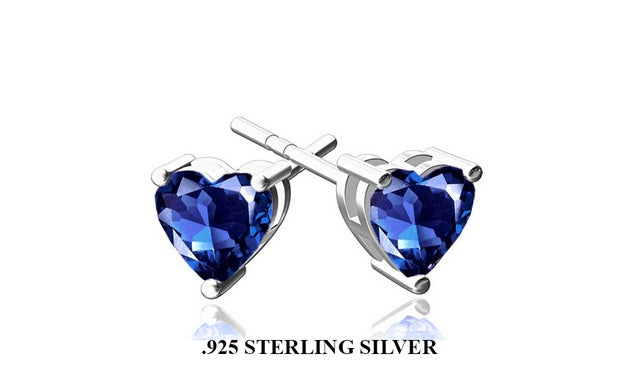 Stunning 2.00 CTTW .925 Sterling Silver Lab Created Sapphire Stud Heart Earings