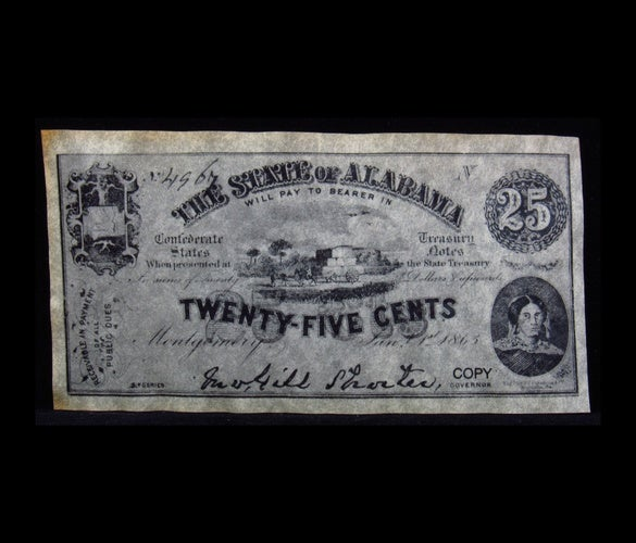 1863 $0.25 - The State of Alabama - 25 Cents Paper Coin - Reproduction -