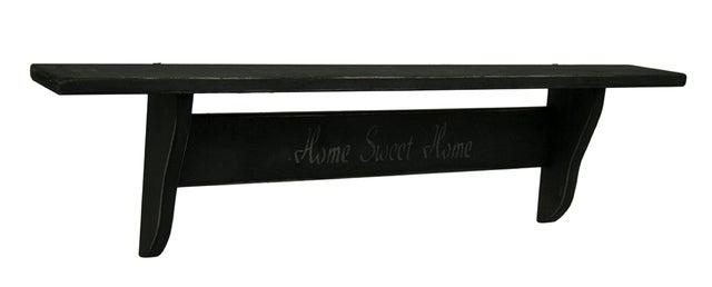 Zeckos - Home Sweet Home Distressed Black Wooden Wall Shelf 36 Inch
