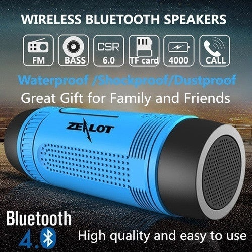 Zealot S1 4000mAh Waterproof Bluetooth Bicycle Power Bank Speaker with Accessories - Blue