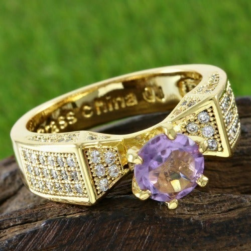 14k Yellow Gold Plated, Amethyst & White Topaz Ring