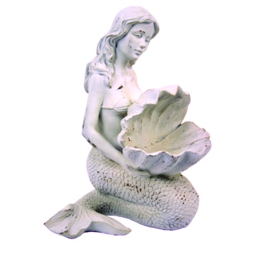 Mermaid Holding Seashell Tabletop Figurine Resin Distressed Finish