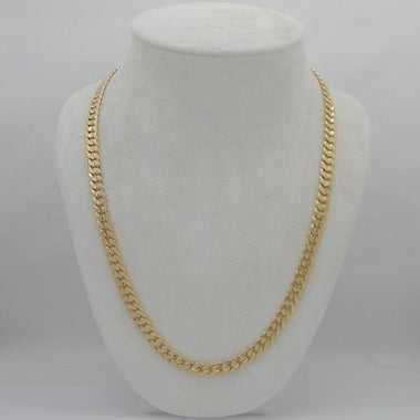 14K Gold Filled Mate Finish Solid Cuban Chain 24