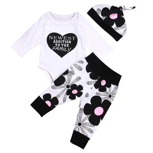 Newborn Baby Boy Girl Long Sleeve Tops Romper Pants 3Pcs Outfits Set 0-18M