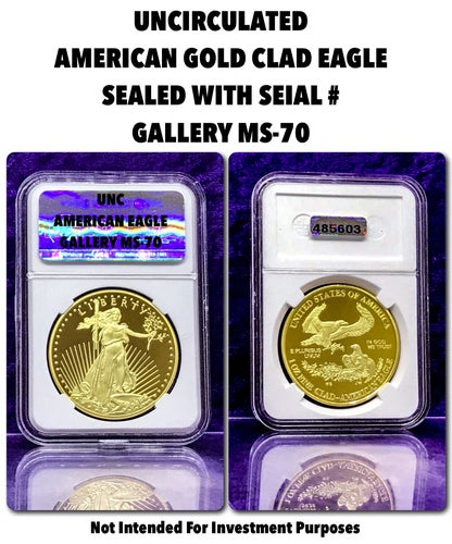 *MUSEUM GALLERY* Perfect MS-70 $50 American Gold Clad Eagle Tribute Coin