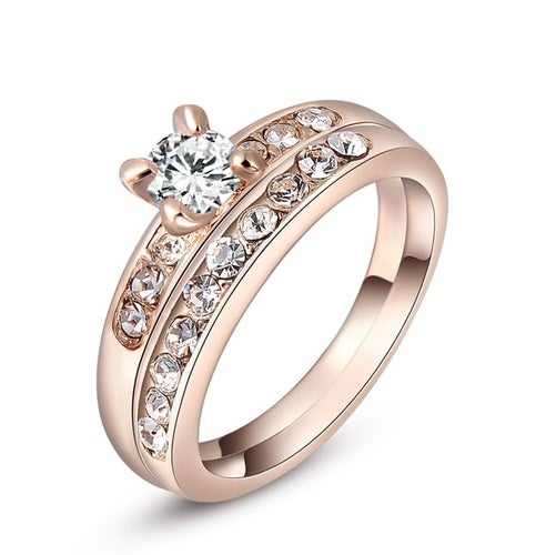 Classic Genuine Austrian Crystals Sample Sales Rose Gold Color Double Ring