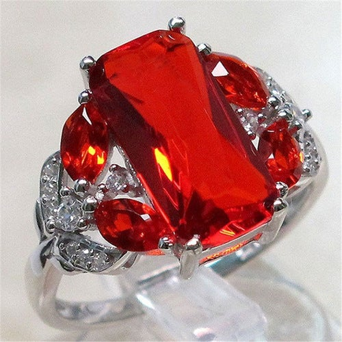 Red CZ Wedding Engagement Ring Jewelry