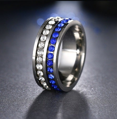 Brilliant Crystals Band Double Color Blue white Steel