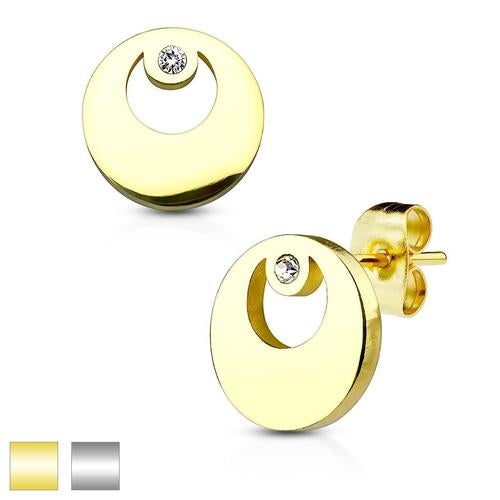Round with Crystal 316L Stainless Steel Earring Studs Pair