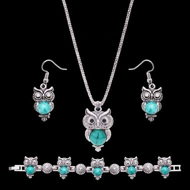 Silver Plated Owl Red Natural Stone Necklace & Earring Bracelet Sets for Women