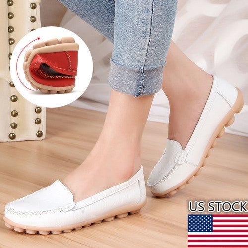 WOMEN CASUAL OFFICE PUMPS FAUX LEATHER FLATS SLIPPERS LOAFERS SHOES SIZE 2.5-7.5