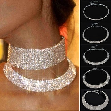 Hot Sale Outstanding Shining Crystal  Collar Chain Choker Necklace  Bridal Weddi