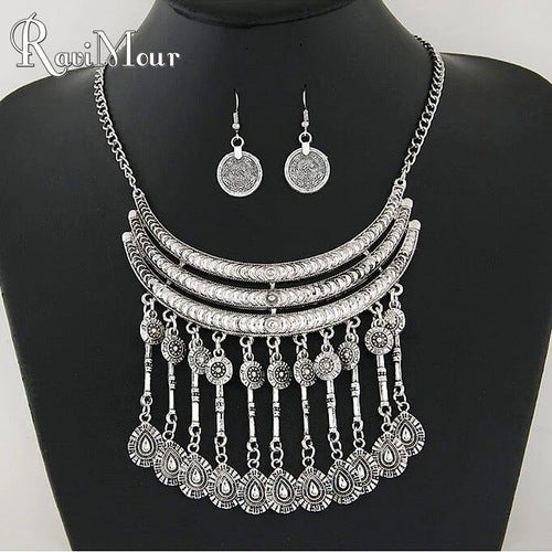 Silver African Necklace & Earring Fine Jewelry Set