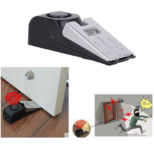 Home Security Wedge Door Stop Alarm System (Black)
