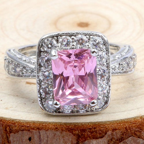 Charming Pink & White Topaz Sterling Silver 925 Ring