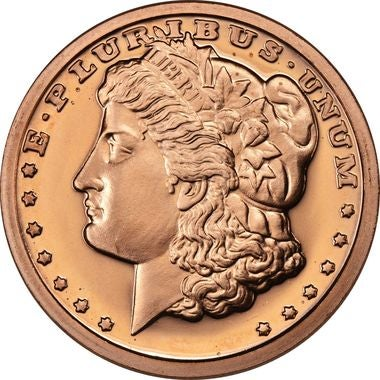 Gem Mint 1 oz. .999 Pure Copper Round - Morgan Dollar Design with capsule holder