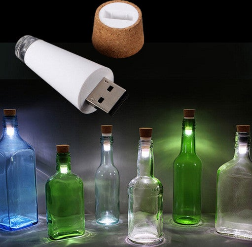 1 pcs New Creative Cork Shaped Rechargeable USB LED Night Light Wine Bottle Stopper