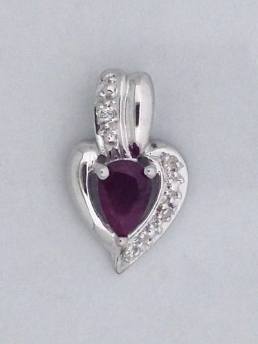 Natural Ruby with Natural Diamond Pendant 925 Sterling Silver