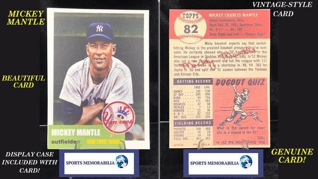 Genuine 1953 Topps Style Mickey Mantle Baseball Card Tophatter