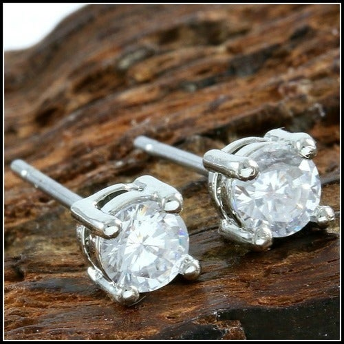 14k White Gold Filled, Beautifully Created Fine White Sapphire Stud Earrings SM7334