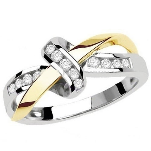 Gold Filled Infinity ring white/yellow crystals