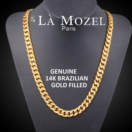 Luxurious Italian Handcrafted 14K Brazilian Gold Filled Flat Cuban Chain Necklace 4MM - 24 inch
