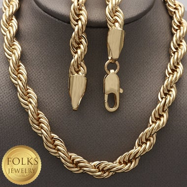 Drippin' In Freshness Tarnished Resistance Mens 7mm Thick Solid Rope Chain in 24