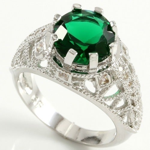 14 White Gold Filled 1.30ctw Beautifully Created Emerald Ring