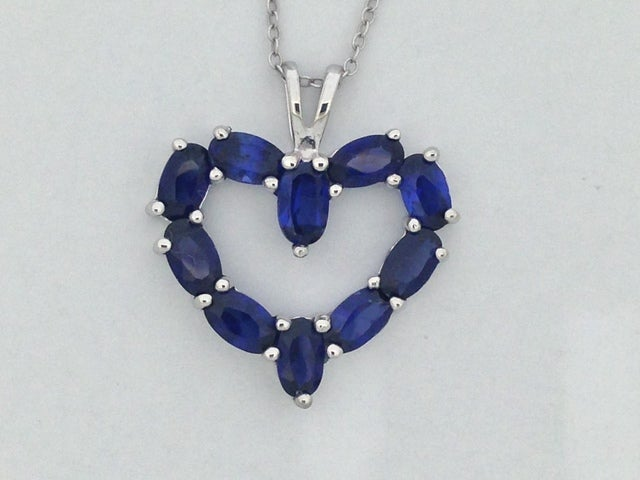 Sterling Silver Created Sapphire Open Heart Necklace
