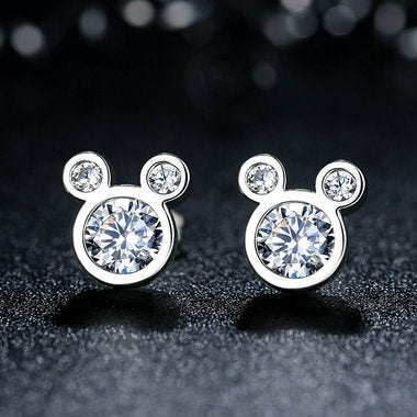 Popular Fashion 925 Sterling Silver Dazzling Mickey Push-back Stud Earrings for