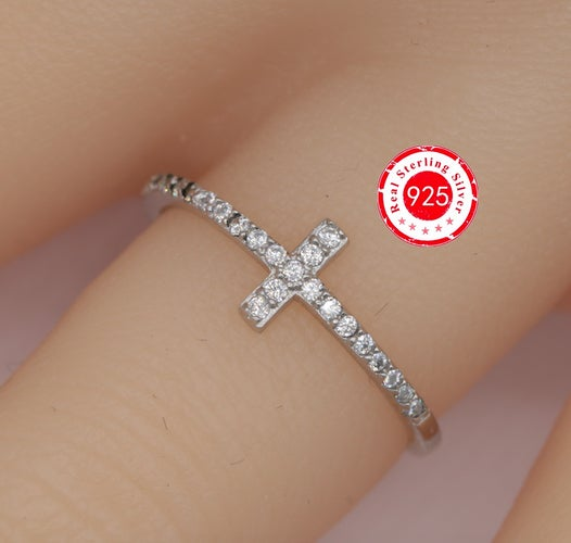 .925 Sterling Silver Cross Ring--107