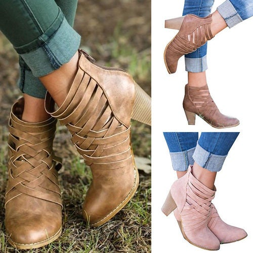 Fashion Womens Cross Strappy High Block Back Zipper Ankle Boots Bootie Shoes New