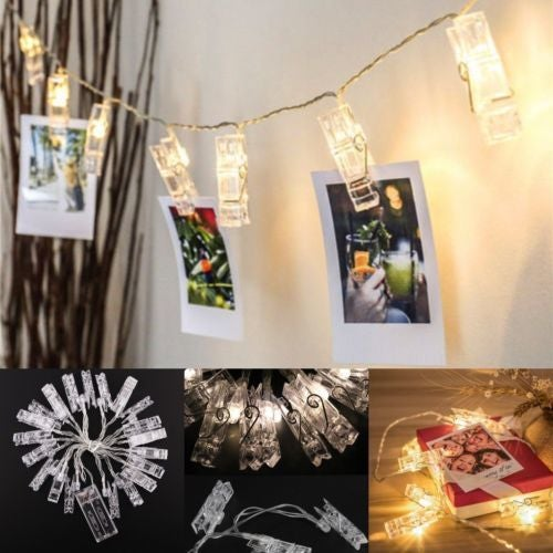 1M 10 LED Card Photo Clip Lights 2xAA Battery Party Wedding Home Decoration