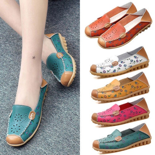 New Women Leather Comfort Casual Walking Bowed Loafers Flat Shoes Slider
