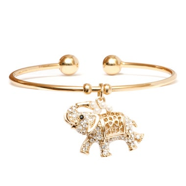 18k Gold Plated Natural Shell Pearl and Swarovski Elements Elephant Charm Cuff