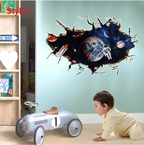 3D Outer Space Wall Sticker Home Decor Kids Room Living Room