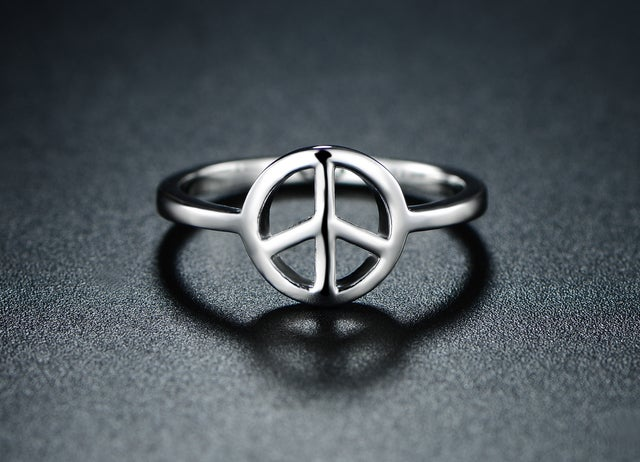 White Gold Filled Peach Sign Ring