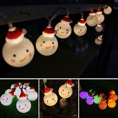 10 LED String Light Snowman Fairy Indoor Lights Party Home Decor Lamp