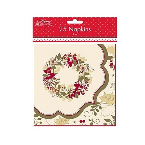 Home Collection 2 Ply Traditional Christmas Napkins (Pack Of 25)
