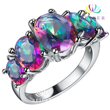 Luxury Oval cut Rainbow AAAAA CZ Wedding Ring White Gold Filled Engagement Jewel
