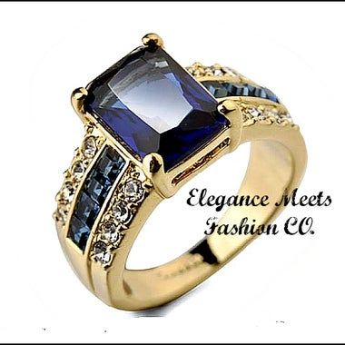 Stunning Blue CZ Yellow Gold Filled With Surrounding stones Ring