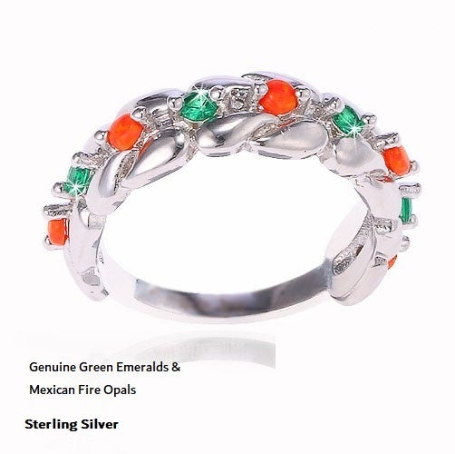 Genuine Green Emeralds/ Mexican Fire Opals, Sterling Silver