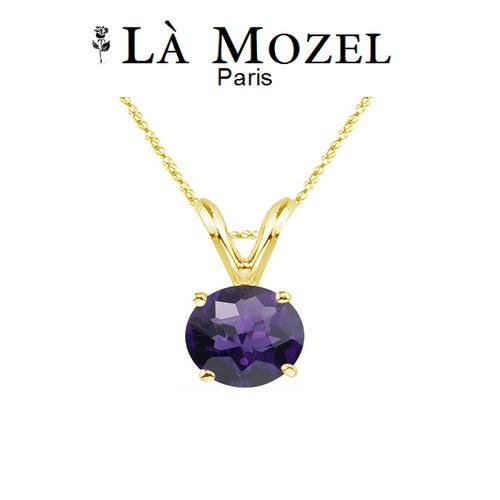 18K Yellow Gold Over Sterling Silver Genuine Purple Amethyst Necklace